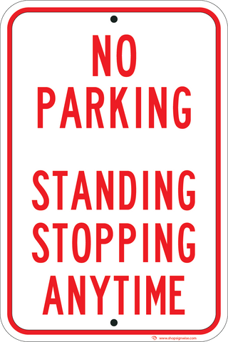 no parking standing stopping anytime sign