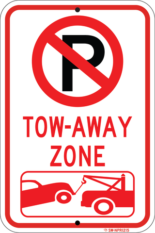 "No Parking Tow Away Zone, 12""x18"", 3M High Pris Reflective Sheeting - Sign Wise"