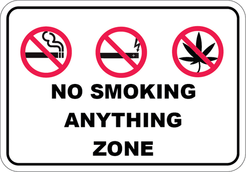 No Smoking Anything Zone - Sign Wise