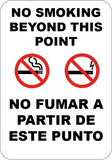 No Smoking or Vaping Beyond This Point English/Spanish - Sign Wise