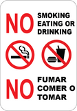 No Smoking Eating Drinking in This Area English/Spanish - Sign Wise