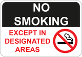 No Smoking Except In Designated Areas - Sign Wise