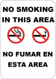 No Smoking or Vaping In This Area English/Spanish - Sign Wise