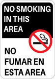 No Smoking In This Area English/Spanish