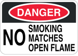 No Smoking Matches or Open Flame - Sign Wise