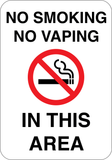 No Smoking or Vaping - Sign Wise