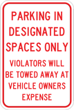 Parking In Designated Spaces Only