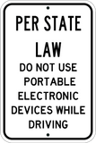 Per State Law - No Texting - Sign Wise