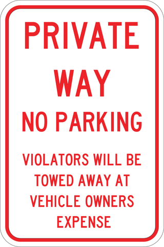 Private Way No Parking - Sign Wise