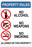 Property Rules - No Alcohol Weapons Smoking On This Property