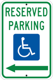 Reserved Parking Left Arrow - Sign Wise
