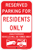 Reserved Parking Residents Only - Sign Wise