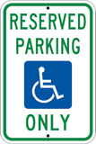 R7-8 MUTCD Handicapped Reserved Parking Only Sign, Green over Blue