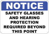 Safety Glasses and Hearing Protection Required
