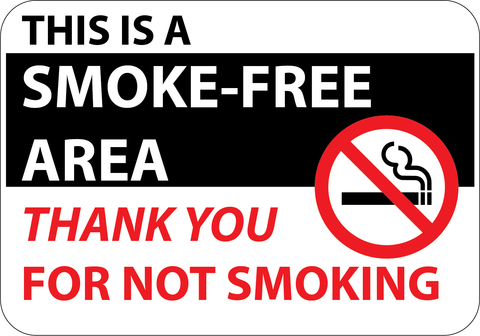 This is a Smoke Free Area - Thank You For Not Smoking - Sign Wise