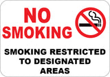 No Smoking - Smoking Restricted to Designated Areas