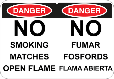 No Smoking, Matches, or Open Flame - Sign Wise