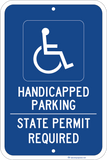 Handicapped Parking State Permit Required - Sign Wise
