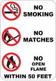 No Smoking Matches Open Flame Within 50 Feet