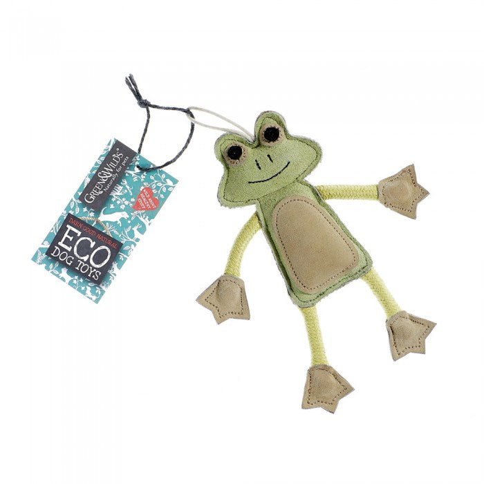 Green & Wild's Francois Le Frog -Eco Dog Toy- Made in UK *NEW*