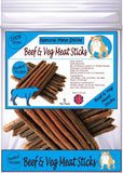 Natural - Beef & Veg Meat Sticks - Dog Treats - 5 Per Pack - Made in UK