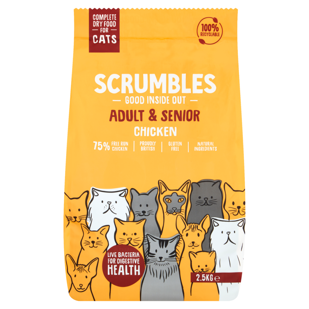 Scrumbles -Chicken Dry Cat Food 750g For Adult and Senior Cats (Made in UK)