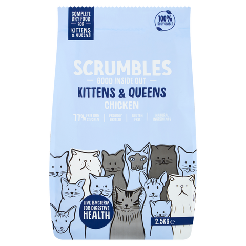 Scrumbles - Chicken Dry Kitten Food 750g For Kittens upto 12 months old (Made in UK) *NEW*