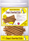 Natural - Cheese & Ham Meat Sticks - Dog Treats - 5 Per Pack - Made in UK