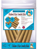 Natural - Chicken & Rice Crunchy Sticks - Dog Treats - 5 Per Pack - Made in UK