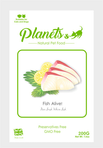 Planets - Fish Alive! - Pure Fresh White Fish - Cat & Dog Treats 200g - Made in UK