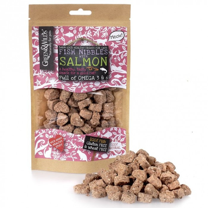 Green & Wild's Fish Nibbles with Salmon Cat Treats 85g Made in UK