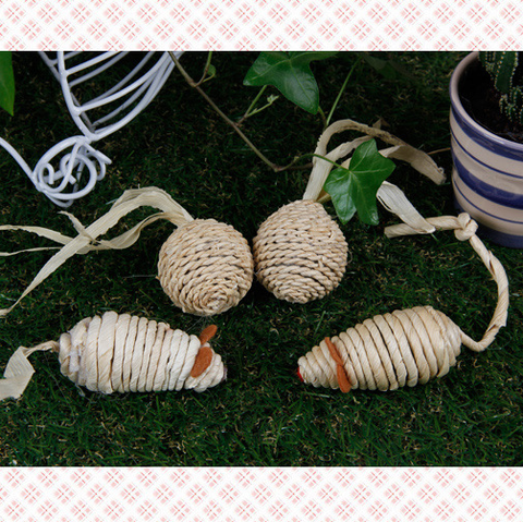 Set of 2 Raffia Cat Toy      環保系貓玩具
