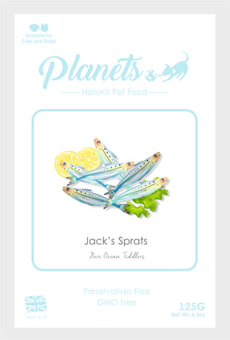 Planets - Jack's Sprats - Pure Ocean Tiddlers - Cat & Dog Treats 125g - Made in UK