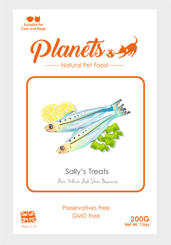 Planets - Sally's Treats - Pure White Fish Skin Biscuits - Cat & Dog Treats 200g - Made in UK