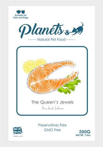 Planets - The Queen's Jewels - Pure Fresh Salmon - Cat & Dog Treats 200g - Made in UK