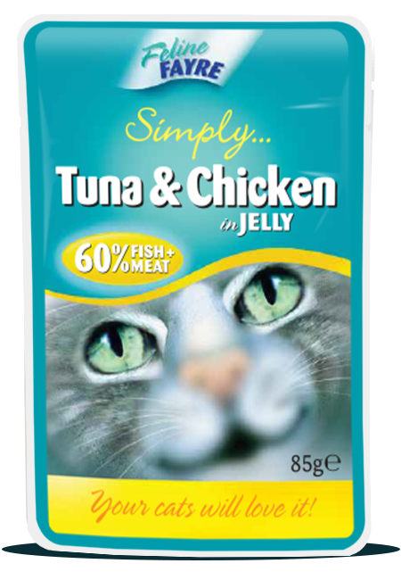 Feline Fayre Tuna & Chicken in Jelly Wet Cat Food 85g Pouch
