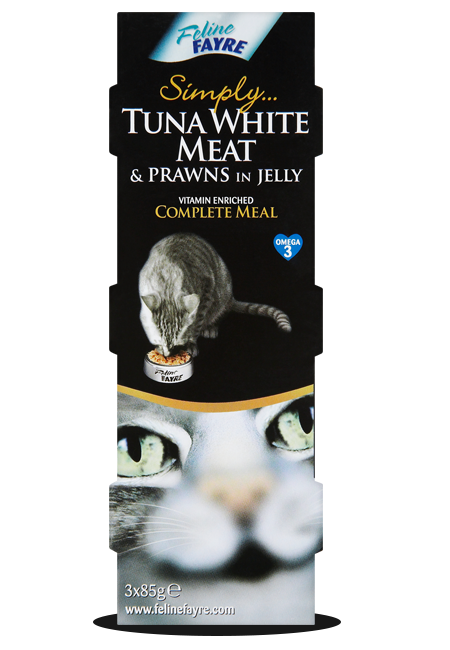Feline Fayre Tuna White Meat & Prawns Wet Cat Food 3 x 85g Can