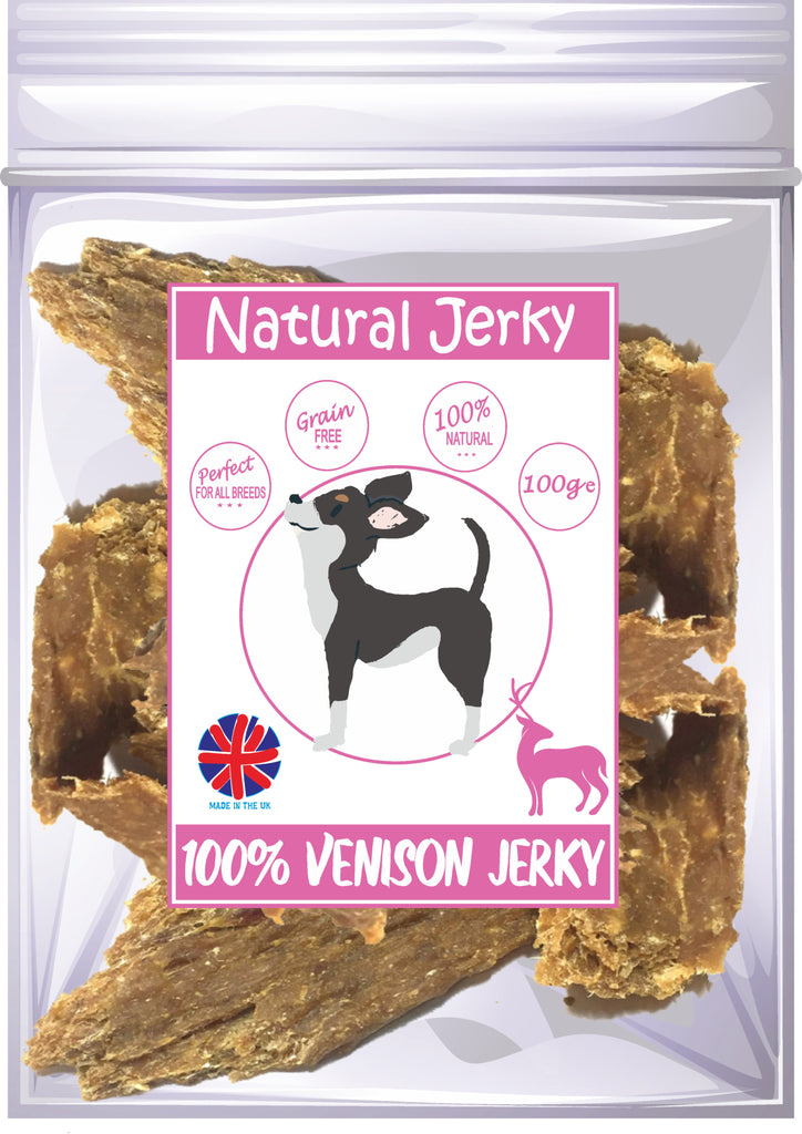 Natural Jerky 100% Venison Meat Dog Treats 100g Made in UK