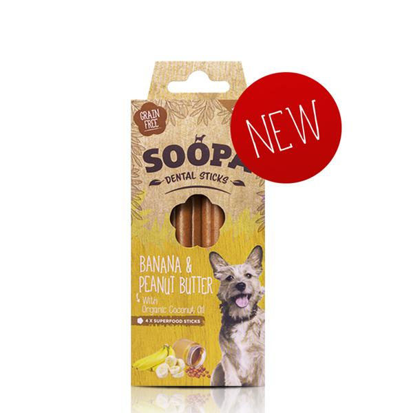 SOOPA - Banana & Peanut Butter x4 Dental Sticks for Dogs