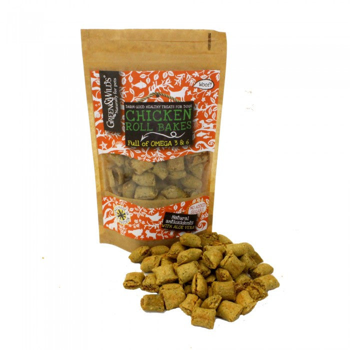 Green & Wild's Chicken Roll Bakes Dog Treats 150g Made in UK