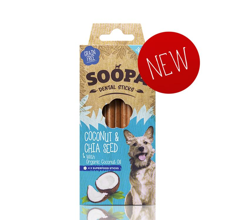 SOOPA - Coconut &  Chia Seed x4 Dental Sticks for Dogs