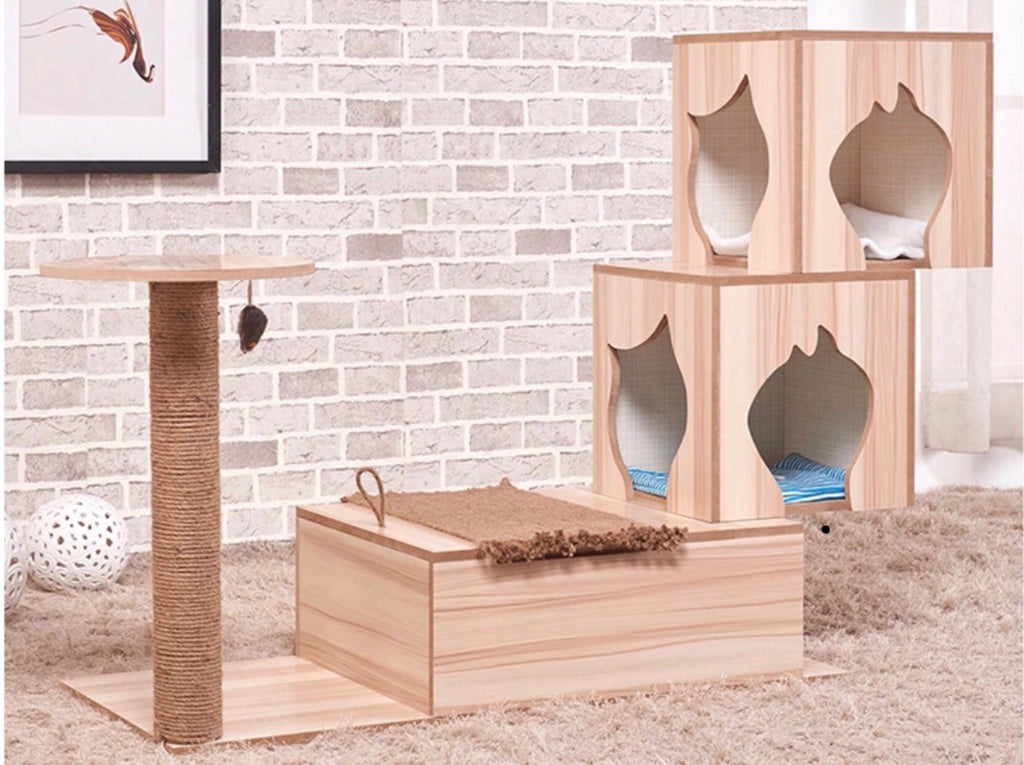 Wooden Cat Tree Scratch House Furniture  窗台專用貓抓木傢俬