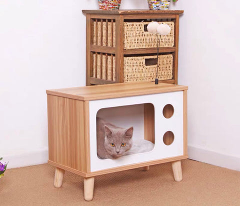 Cat House Bed Wooden TV Vintage Style      電視機貓抓窩