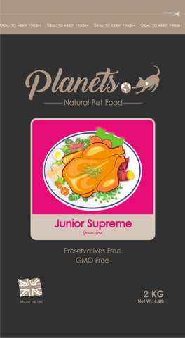 Planets Junior Supreme -  Grain Free - Dry Dog Food- 2kg / 6kg Made in UK