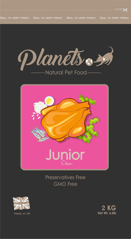 Planets Junior Classic - Gluten Free - Dry Dog Food 2kg / 6kg (Made in UK)