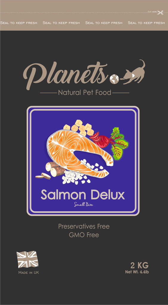 Planets Salmon Delux - Small Bite - Gluten Free - Dry Dog Food - 2kg / 6kg Made in UK