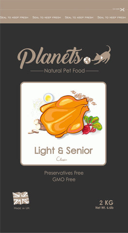Planets Light & Senior Classic - Gluten Free - Dry Dog Food 2kg / 6kg (Made in UK)