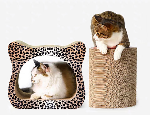 2in1 Premium Corrugated Cat scratch Toy    貓頭形貓抓窩