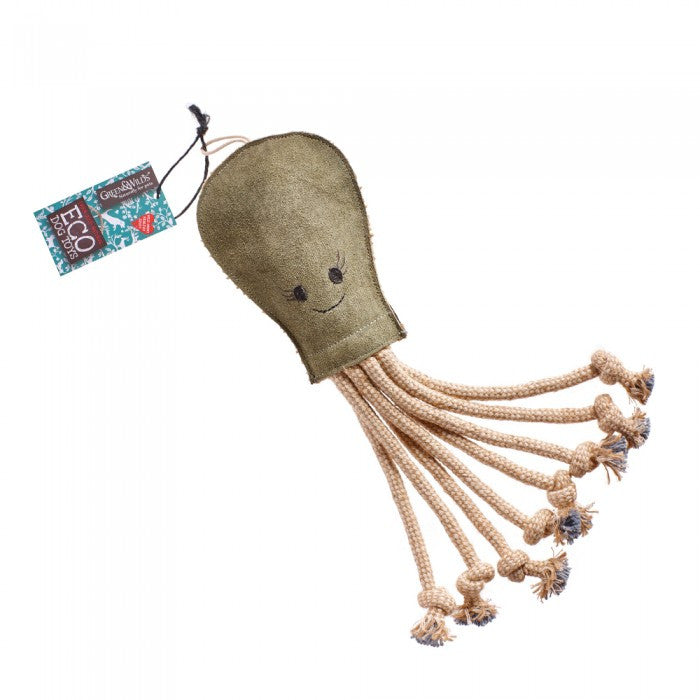 Green & Wild's Olive the Octopus -Eco Dog Toy- Made in UK