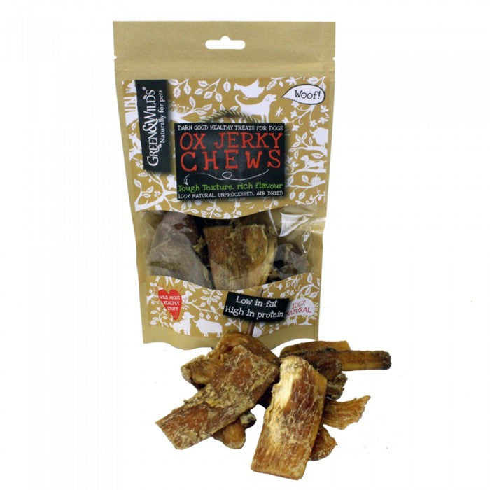 Green & Wild's Ox Jerky Chews Dog Treats 150g Made in UK